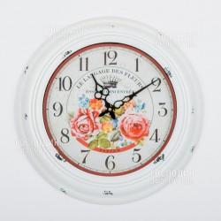 2372 Часы настенные «Розы», d43см, металл, стекло