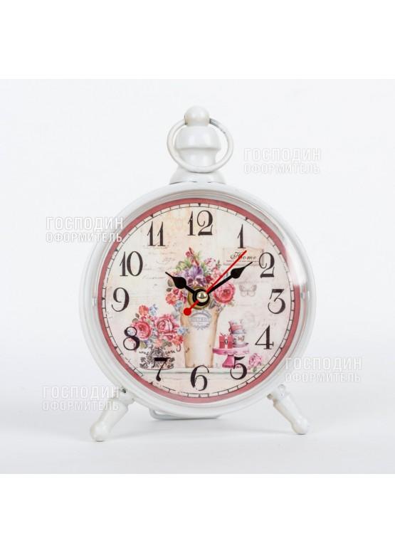 2389 Часы настольные 14х20х5см, металл, стекло