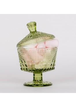 1102 Креманка/сахарница с крышкой, 11х11х15см, стекло