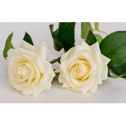 Роза, белая, силикон, 40см