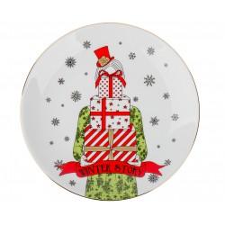 """Тарелка """"Классическое рождество. Девушка и подарки"""", d23см"""