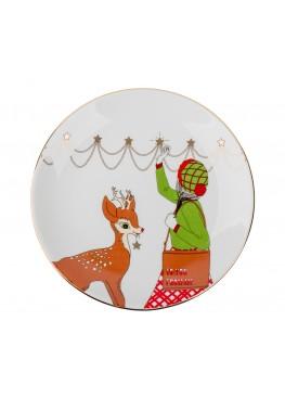 """Тарелка """"Классическое рождество. Девушка и Олень"""",d23см"""