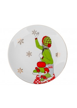 """Тарелка """"Классическое рождество. Девушка и коньки"""",d23см"""