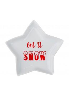 "Десертная тарелка-звездочка ""Let it snow"""