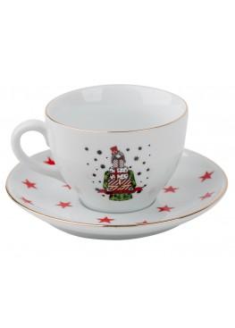 """чайная пара """"Классическое  рождество.  Девушка и подарки"""", 180ml"""