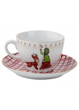 """чайная пара """"Классическое  рождество.  Девушка и Олень"""", 180ml"""
