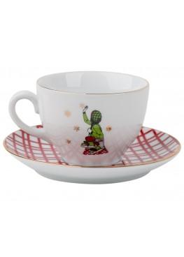"""чайная пара """"Классическое  рождество.  Девушка и коньки"""", 180ml"""