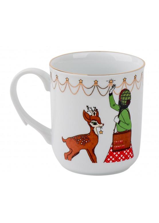 """Кружка """"Классическое рождество.  Девушка и олень"""", 200ml"""