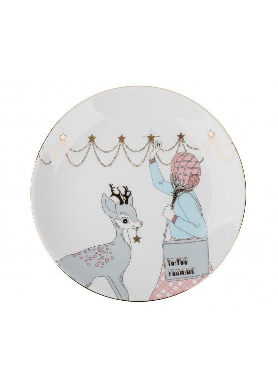 """Тарелка """"Романтическое рождество. Девушка и олень"""", d23см"""