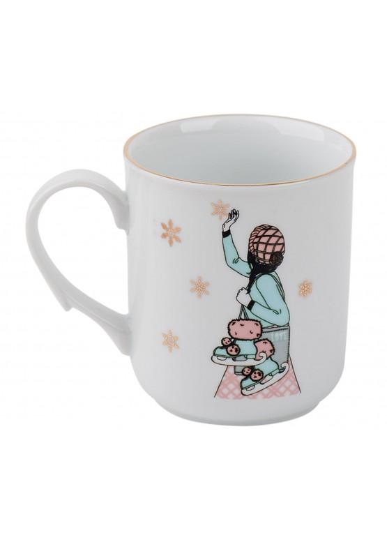 """1120 Кружка """"Романтическое рождество.  Девушка и коньки"""""""