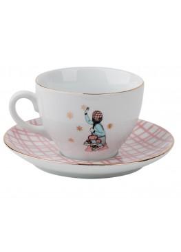 """чайная пара """"Романтическое рождество.  Девушка и коньки"""", 180ml"""