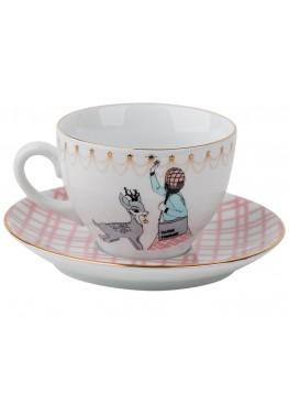 """Чайная пара """"Романтическое рождество.  Девушка и олень"""", 200ml"""