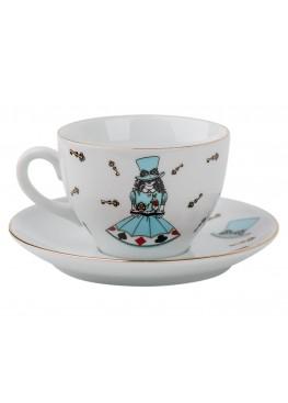 "чайная пара ""Алиса в стране чудес"", блюдце- d15см, чашка- 12х12х7см, 180ml"