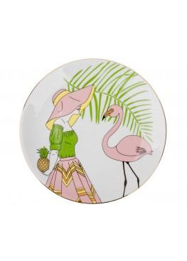 """Тарелка """"Девушка и фламинго"""", d23см"""
