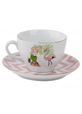 Чайная пара Девушка с фламинго