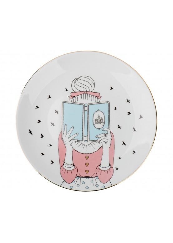 "Тарелка ""Девушка с книгой"", d23см"