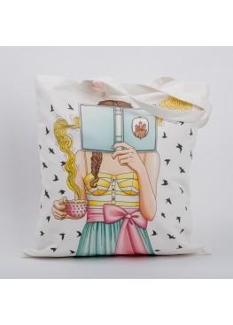 """Сумка """"Девушка с книгой"""", 40х45см, 100%хлопок"""