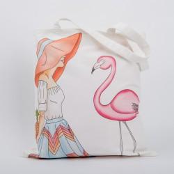 "Сумка ""Девушка с фламинго"", 40х45см, 100% хлопок"