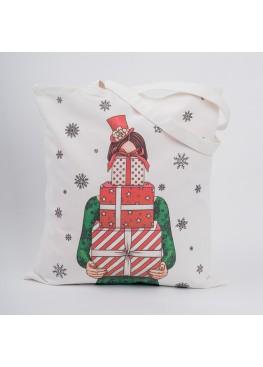 """0400 Сумка """"Классическое  рождество.  Девушка и подарки"""", 40х45см, 100%"""