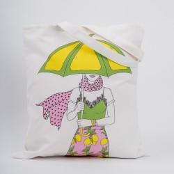 """Сумка """"Девушка с желтым зонтиком"""", 40х45см, 100% хлопок"""