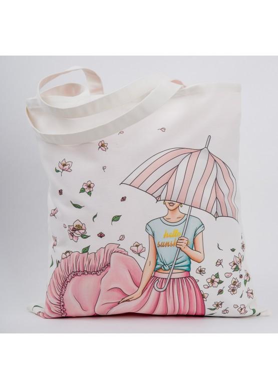 """Сумка """"Девушка с зонтиком"""", 40х45см, 100%хлопок"""