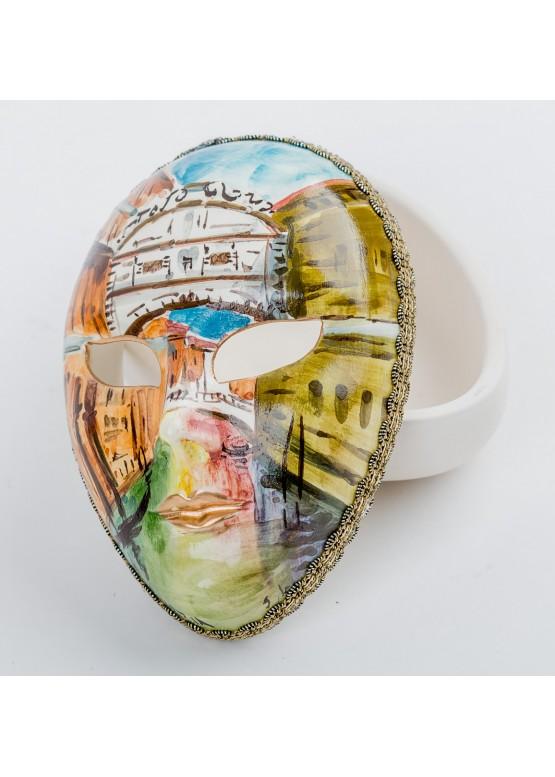Шкатулка «Маска. Венеция», керамика, ручная роспись (виды Венеции), автограф керамисты, 8,2х12,5см