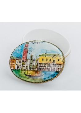 Шкатулка «Венеция», керамика, ручная роспись (виды Венеции), автограф керамисты, 6х9см