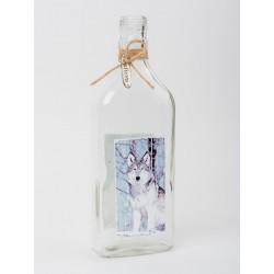 "2708 Декоративная бутылка ""Волк"", Н20см, стекло"